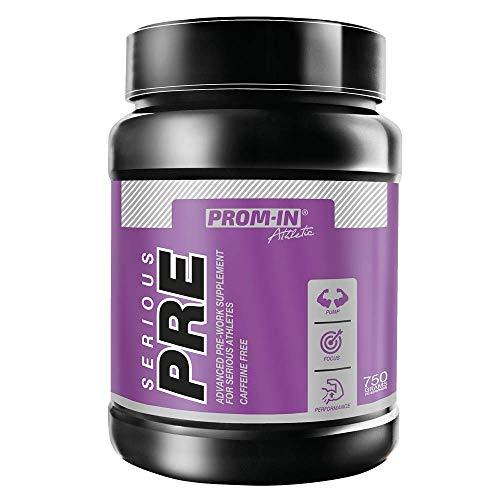 Pre Workout Booster SERIOUS PRE Suplemento pre entreno avanzado para Deportistas, Sin cafeína de PROM-IN, para usar antes del entrenamiento deportivo (Limón/menta, 750 g)
