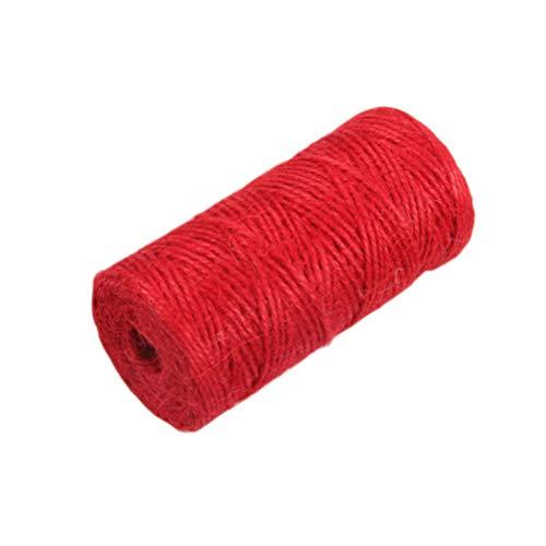 Amosfun Cuerda de Hilo de Yute de Color Cuerda de Yute Regalo Cuerda de Embalaje de Hilo para Envoltura de Regalos de Bricolaje Decoración de Bodas Aplicaciones de Jardín 100M (Rojo)