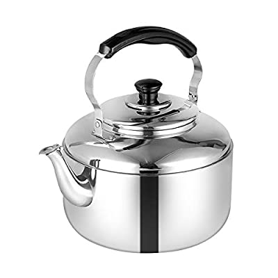 SubClap Whistling Tea Kettle for Stovetop Stainless Steel Polished Teapot, 4 Liter Tea Pot for Induction Stove Top Hot Water with Folding Handle, Fast to Boil, for Home & Kitchen, Dorm, Condo, Silver
