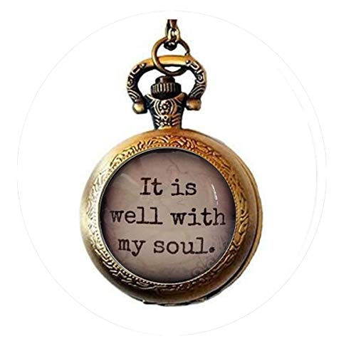 It is well with my soul, glass dome necklace, pendant, gift idea, hostess gift, favor, key ring, Hymn, religious gift- Pocket Watch Necklace Charm Bible Quote Pendant