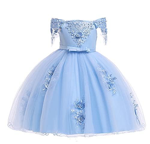 WAWALI Cuentas Vestidos de princesa Vestido de fiesta de boda, vestido de dama de honor con mangas de 3 a 10 años, azul, 3-4 Años