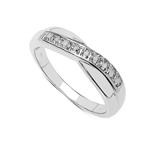 The Diamond Ring Collection: Beautiful Channel Set 0.04Ct Diamond Crossover Eternity Ring in Sterling Silver Size (M)