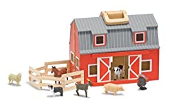 This quality wooden barn is perfect for small world farm play This barn folds closed for easy tidying away Easy to carry using attached handle For children aged 3-8 years