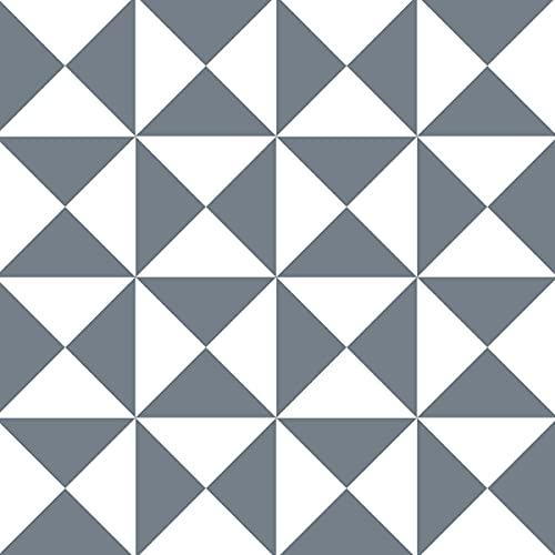 DRAEGER - Carrelage Adhésif Mural - Stickers Carrelage pour redécorer Facilement Votre intérieur - Lot de 6 Carrés Adhésifs (Triangle Gris et Blanc)