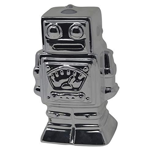 Hogar y Mas Hucha Robot Plateado de Cerámica para Niños. Huchas Infantiles Originales, Figura de Robot Hucha Decoración 17x8x10 cm