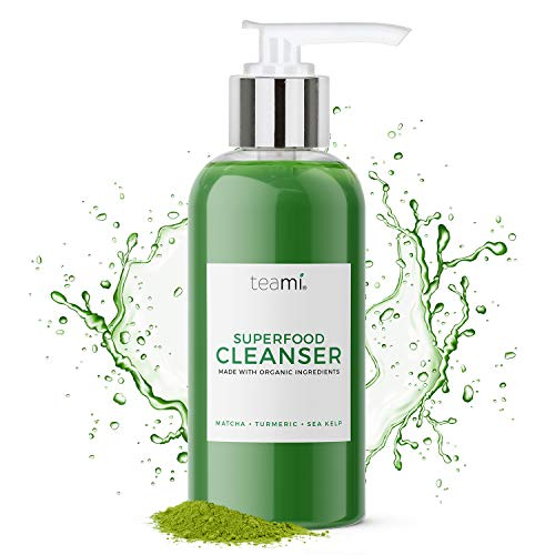 Teami Superfood Daily Facial Cleanser - 4 oz - Face Wash for Women Made with Organic Ingredients like Aloe, Turmeric, Matcha, and Sea Kelp - Face Cleanser Suitable for All Skin Types