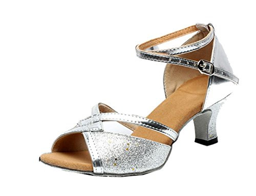 Gaorui Women Tango Ballroom Latin Salsa Waltz Dance Girl Party Formal Shoes Brillante Glitter Heeled Silver