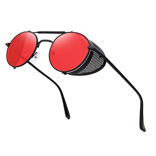 RONSOU Steampunk Style Ronde Vintage Lunettes de Soleil Rétro Lunettes UV400 Protection Métal Cadre cadre noir/lentille rouge