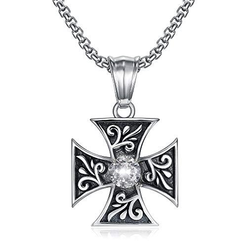 BOBIJOO Jewelry - Discreet Hanger Ketting Templar Knight Kruis Pattée Valse Diamant Zirkonium 316L Stalen Ketting