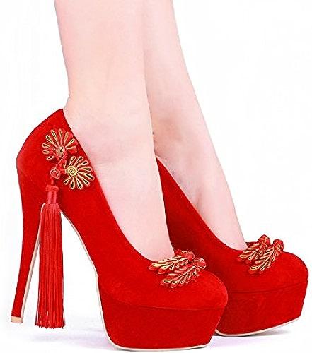 JINGXINSTORE Femmes mariage chaussures rétro rouge chaussures de mariée en treillis avec des chaussures en satin, 14-15cm, UK 3.5