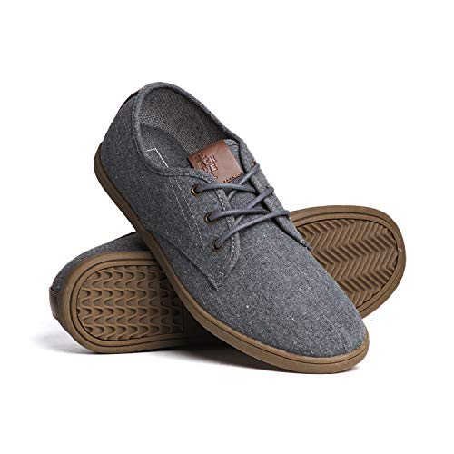 Blackwell Mens Isaac Canvas Casual Lace-Up Shoes with Memory Foam Insoles Grey