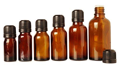 Lot de 6 flacons compte-gouttes de sabotage évident bouchon euro huiles essentielles gros boston bouteilles de sérum rondes vide ambre bouteilles de verre de 5 ml