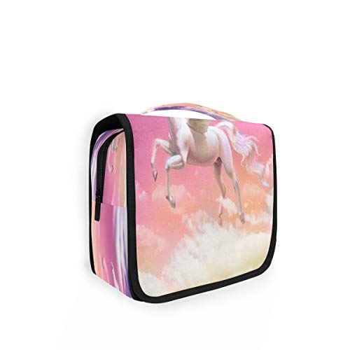 Kulturtasche zum Aufhängen, Tiermotiv, weiß, Pegasus, Kulturbeutel, Kosmetiktasche, Reisetasche mit 4 Fächern für Frauen