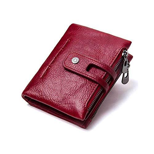 Doppelte Reißverschluss-Schnalle Hochwertige Herrenbrieftasche Leder Retro-Crazy Horse Leder-Herrentasche Lässige Münztasche (schwarz/rot/braun/dunkelbraun) geeignet für Business-Casual. Unisex