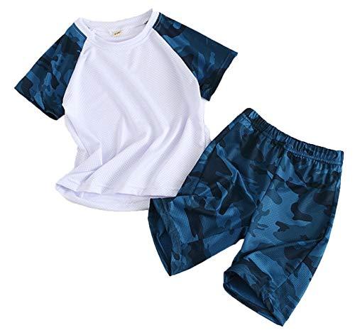 Coralup Jungen Mädchen Bekleidungssets Kinder Sport Outfit Set Camouflage Tops + Shorts 2 Stück 4 Farben 2-13 Jahre Gr. 9-10 Jahre, Navy01