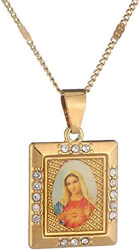 WYDSFWL Collar de Color Dorado, joyería Cristiana católica, Esmalte, Madre bendecida, camafeo, Virgen María, Collar en T, Regalos