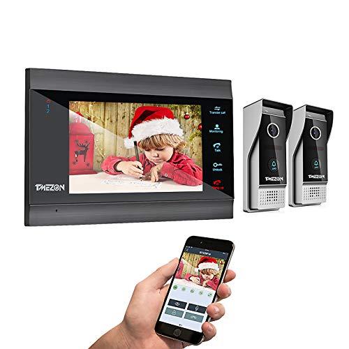 TMEZON WLAN Video Türsprechanlage Türklingel Gegensprechanlage System,7 Zoll WLAN Monitor mit 2 Verdrahteter Kamera im Freien Für 1-Familienhaus, Fernbedienung Türöffner und App