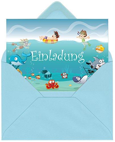 Einladungskarten im Set zum Kindergeburtstag mit Motiv Ozean, Unterwasserwelt, Schwimmbad, Freibad, Poolparty. Einladungen für Jungen und Mädchen (12 Einladungen mit Umschlägen)