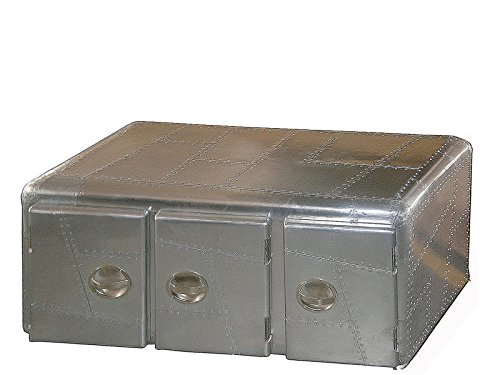 Designer TV-Lowboard Couchtisch Wohnzimmertisch Sofatisch Kaffeetisch Aluminium Koffer Truhe Modern Industrial 100 x 50 x 50 cm