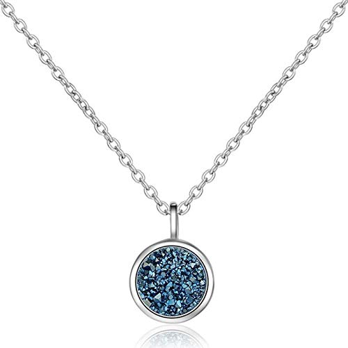 BJGCWY Blue Crystal Starry Sky Pendant 925 Sterling Silver Clavicle Chain Female Necklace