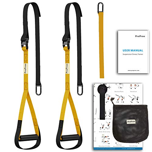 ProProo Home Gym Bodyweight Resistance Trainer Fitness Straps with Exercise Guide Poster
