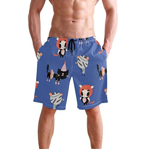 AMONKA Cartoon Katzen in Halloween Kostüme Muster Herren Badehose schnell trocknend Strand Board Kurze Casual Polyester Shorts mit Taschen S Gr. XL, Mehrfarbig