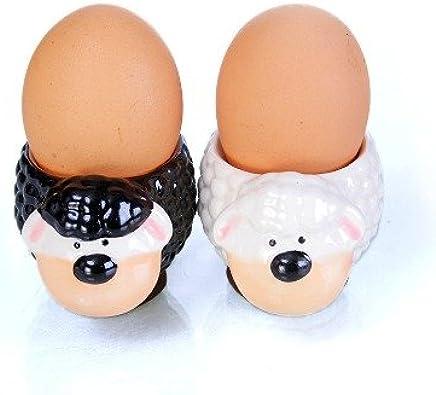 Preisvergleich für Eierbecher Set - Modell Schafe schwarz und weiss 2-er Set exclusives Design