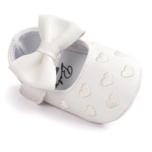 kingko® bébé Fille Chaussures en Cuir Sneaker Anti-dérapant Souple Sole Toddlerr avec Bowknot (0~6 Mois, Blanc)