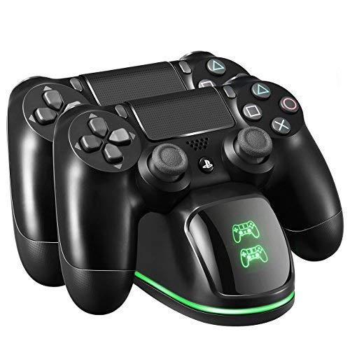 VicTsing Doppio Caricatore Joystick ps4, Indicatore di LED, Caricabatterie PS4 Rapido, Funziona con Joypad, PlayStation 4, PS4 Slim/Pro, Cavo USB
