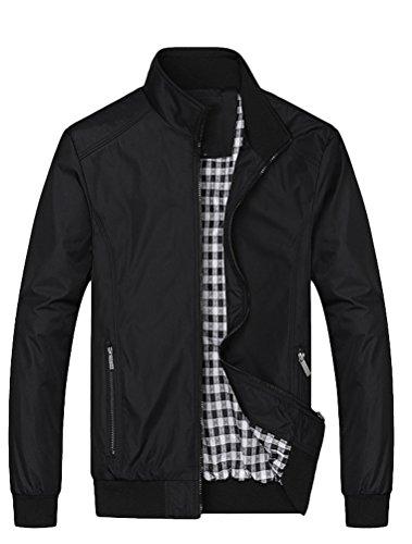Lavnis Herren Bomberjacke bergangsjacke Leichte Jacke Casual Mäntel mit Stehkragen Style1, XL, Schwarz