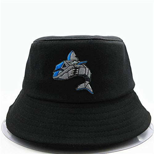 Bucket Hat Robot Shark Embroidery Bucket Hat Fisherman Hat Outdoor Travel Hat Sun Cap Hats For Men And Women-Black
