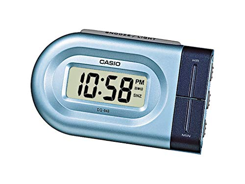 Casio Collection Despertador, Acero Inoxidable, Azul, 10x4x6 cm