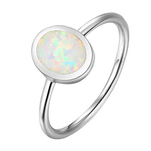 Purmy Silber Ring 925 Weißer Opal Damen Ringe Runde Form,Minimalistischer Schmuck Jubiläumsgeschenke Hochzeit Verlobung Ring Größe 54 (17.2)