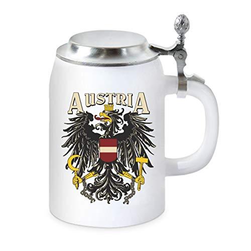 Bierkrug mit Flachdeckel - Österreich Austria - Staatswappen