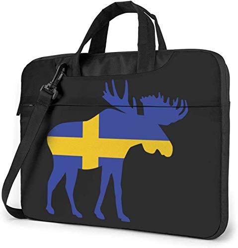 Swedish Flag and Moose Laptop Bag Shockproof Briefcase Shoulder Bags Carrying Case Laptop 15.6 inch