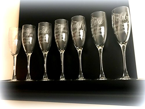 12 Qty Custom Engraved Etched Printed Personalized Champagne Glass Flutes Set of 12