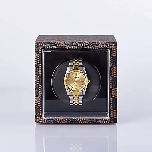 PLMOKN Reloj Winders Vertical Mini Single Watch Caja de enrollamiento Mecánico Automático Winder Motor Silent Motor Watch Shaker Rotating Watch Funda de Almacenamiento Hogar