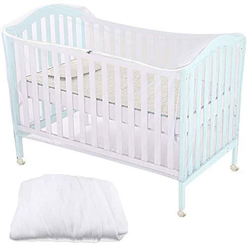 Mosquitera para cuna, mosquitera para cuna mosquitera para bebés con función de cremallera para un acceso rápido y fácil a su bebé, blanco, 160 x 80 x 65 cm