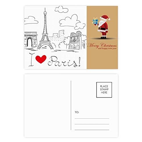 Ik hou van Parijs Frankrijk Eiffeltoren lijn Kerstman ansichtkaart Set Thanks Card Mailing 20 stks