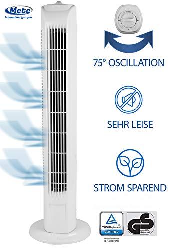 METE Ventilator Turmventilator leise 78cm weiss, ENERGIESPAREND/EEK A+ - Verbrauch 0,045 kW/h, Turm-lüfter Lautstärke max. 57dbA, BESTSELLER 3 Stufen, 75° Oszillierend/Drehbar, Stablüfter