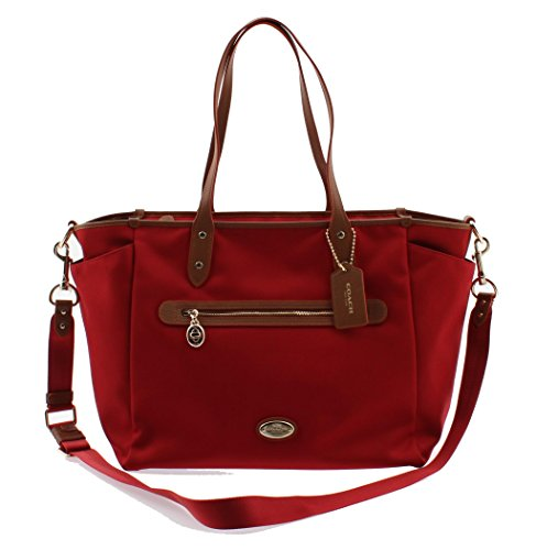 Coach Sawyer Canvas Multifunction Baby Diaper Bag F37758 (Classic Red)