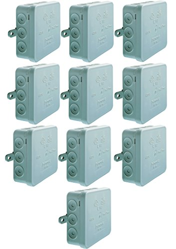 10 Stück Abzweigkasten SD12 grau AP IP54 mit Deckel 12 Einführungen 100x100x40