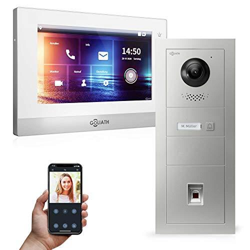 Goliath Hybrid | 2 cables | Videoportero Full HD | App | 1 x pantalla táctil completa de 7 pulgadas | placa de puerta empotrada de aluminio | + huella digital | ultra gran ángulo de 180° | AV-2DS-547