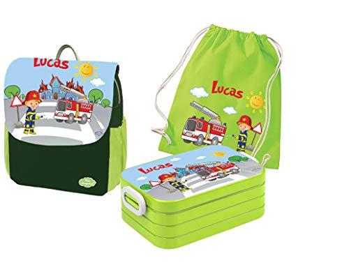 Mein Zwergenland | Personalisertes Kindergartenrucksack-Set | Kinderrucksack mit Name | Lunchbox Maxi mit Name | Turnbeutel aus Baumwolle mit Name | Personalisierte Trinkflasche | Grün | Feuerwehr