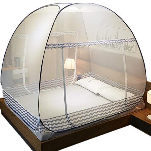 Moustiquaire De Lit, Pop-Up Moustiquaires Pliage Compact Et Léger avec Piqûres Anti-Moustiques Inférieures Installation Gratuite,Gris,120cm