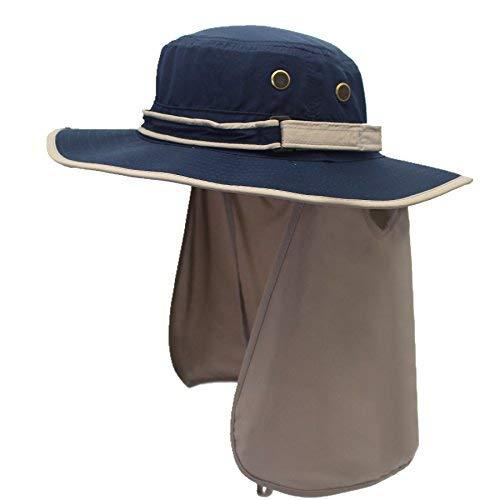 Mantimes Sneldrogende UV-bescherming Outdoor Zonnehoed met klep nek Cover (marineblauw)