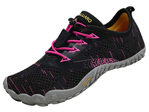SAGUARO Barfußschuhe Herren Damen Traillaufschuhe Leicht Training Fitnessschuhe Wander Wald Strand Straßenlaufschuhe Outdoor & Indoor Sports Schuhe für Frauen Männer, Rot, 37 EU