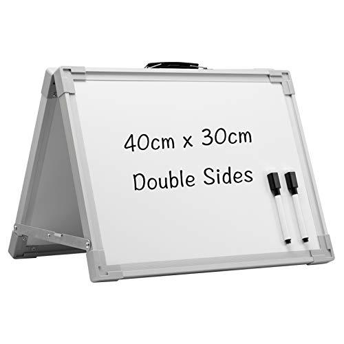DOEWORKS Pizarra blanca magnética pequeña de 40 x 30 cm portátil de borrado en seco con asa, plegable de doble cara, pizarra blanca portátil recordatorio