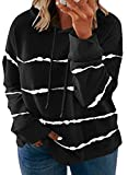 Blibea Women Plus Size Casual Long Sleeve Stripe Pullover Hooded Drawstring Sweatshirt 1X Black