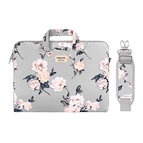 MOSISO Laptop Tasche Hülle Kompatibel mit 13-13,3 Zoll MacBook Pro, MacBook Air, Notebook,Kamelie Tragetasche Schutzhülle mit Trolley Gürtel,Grau